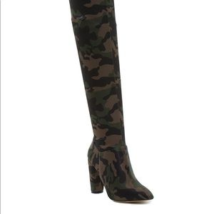 ALDO ARMY FATIGUE KNEE HIGH BOOTS